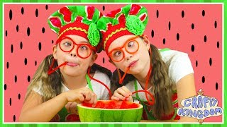 Download WATERMELON POOL SLUSHIE - Healthy kids frozen smoothie recipe - Crafty Kingdom BTS ep 4 Video