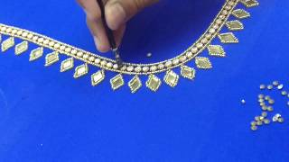 Download Fixing stones on a blouse back neck design Video