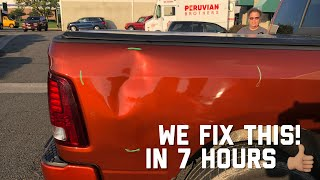 Download EXTREMELY LARGE Dent Repair on a Dodge Ram Pick Up | Paintless Dent Removal Process Video
