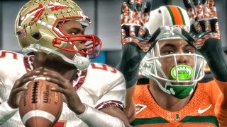 Download BATTLING JAMEIS WINSTON! #5 FSU vs #4 MIAMI! NCAA 14 Road to Glory Gameplay Ep. 25 Video