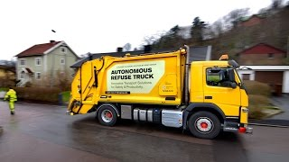 Download Volvo pioneers autonomous, self-driving refuse truck in the urban environment Video