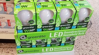 Download Dollar Tree $1 Greenlite LED Bulb 9w (60w) Review and teardown Video