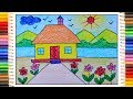 Download How to draw simple scenery, Village scenery drawing for kids, Village drawing Video