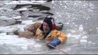 Download Raw: Firefighters Rescue Family Dog in Icy River Video