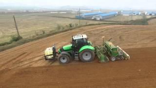 Download 2015 Barley drilling, packing and weeding one pass with Deutz, amazone and phantom 3(보리 파종 도이치파 아마존) Video