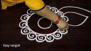 Download easy rangoli designs with out dots for nava rathri || simple kolam designs for pooja - muggulu Video