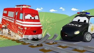Download Car Patrol - Troy the TRAIN Can't Drive on BROKEN Rails! - Car City ! Police Cars and fire Truc... Video