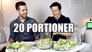 Download Vi Försöker Att Äta 20 Portioner Grekisk Sallad Video