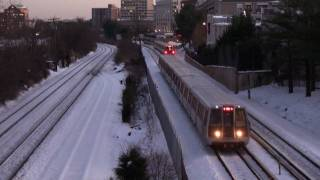 Download Metro and MARC Trains north of Rockville Maryland with snow on tracks Video