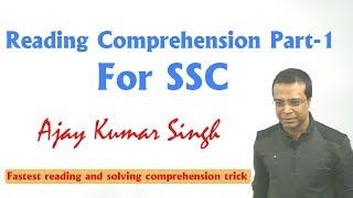 Download Reading Comprehension Class Part 1 For SSC By Ajay Kumar Singh Video