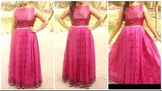 Download Convert Old Saree Into Long Gown Dress | DIY Video