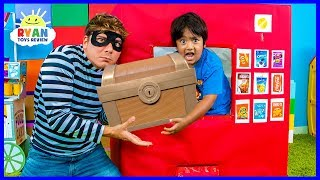 Download Ryan Pretend Play with Box Fort Vending Machine Snacks Toys!!! Video