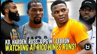 Download Kevin Durant, Russell Westbrook, James Harden & PG w/ LeBron Watching at Rico Hines Private Runs!! Video