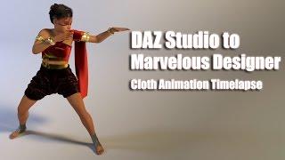 Download DAZ Studio to Marvelous Designer Cloth Animation Timelapse Video