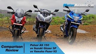 Download Pulsar AS 150 vs Suzuki Gixxer SF vs Yamaha Fazer V2 - Comparison Review | MotorBeam Video