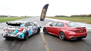 Download DRAG RACE! Alfa Romeo Giulia Quadrifoglio VS Mercedes A45 AMG! Video