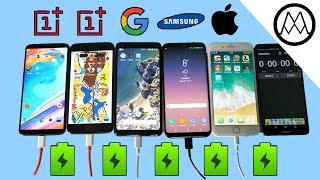 Download Oneplus 5T vs Pixel 2 XL vs S8 vs iPhone 8 Battery Charging Speed Test! Video