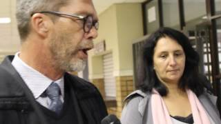 Download Vicki Momberg stands with her attorney Nardus Grove at Randburg Magistrates' Court Video