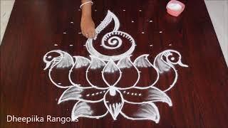 Download creative lotus shank rangoli design with 9x5 dots * peacock lotus kolam design *easy friday muggu Video