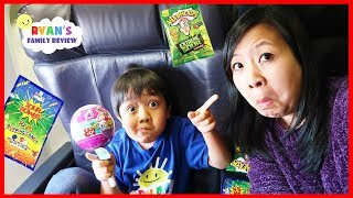 Download Kid on the Airplane Sour Candy and Surprise Toys Pikmi Pop Opening with Ryan's Family Review Video