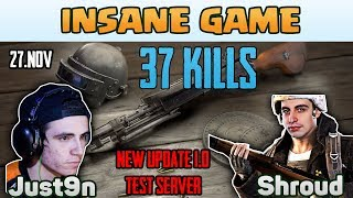 Download INSANE GAME - Shroud and Just9n 37 kills DUO FPP [TEST SERVER] - PUBG HIGHLIGHTS TOP 1 #17 Video