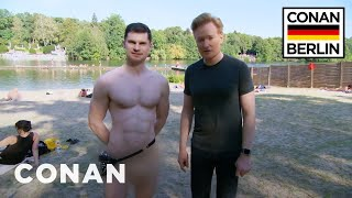 Download Conan & Flula Borg Visit A Nude Beach - CONAN on TBS Video
