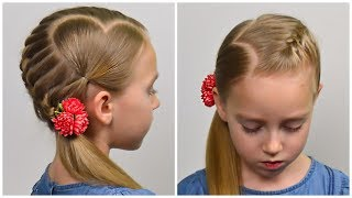 Download French Braid & Accent Hearts ❤ Valentines Day Hairstyle ❤ Easy hairstyle for girls #65 Video