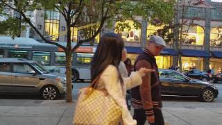 Download Vancouver 10 Minute WALK: ROBSON STREET (DUSK) Heading East - 4K Video