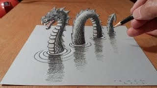 Download How to Draw Monster - Drawing 3D Loch Ness Monster - By Vamos Video
