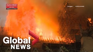 Download Notre Dame fire: Paris fire brigade footage shows extent of cathedral blaze Video
