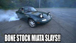 Download DRIFTING A BONE STOCK MIATA? (NEW CAR) Video