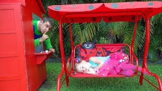 Download Stacy and Dad repairing playhouses Video