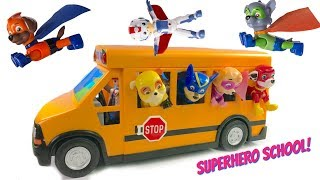 Download Paw Patrol Rides School Bus to Superhero Super Pup School Wheels on the Bus Song Video