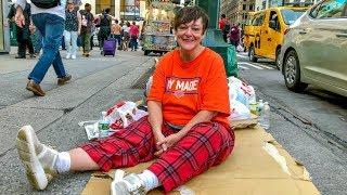 Download Disabled Homeless Woman Sleeps on the Streets of New York City Video
