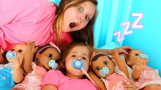 Download Ruby helps Babies! Kids Pretend Play with Baby Dolls feeding and morning routine video Video