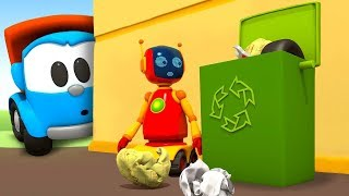 Download Leo the truck & a garbage truck: A garbage truck cartoon for kids Video