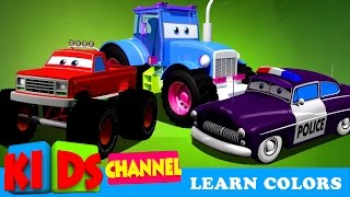Download Learn Colors With Cars and Trucks | Street Vehicles In Cargo | Cars Colors Videos For Kids Video