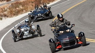 Download Is This A Motorcycle Shootout? Polaris Slingshot vs. Can-Am Spyder F3 vs. Morgan 3 Wheeler Video