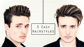 Download 3 Easy Mens Hairstyles   No Heat Hair Tutorial - Healthy Hair 2016 Video