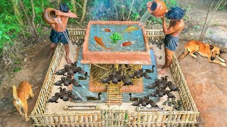 Download Primitive Technology: Build Mini Swimming Pool With Bamboo House For Ducks And Fish Pool Video