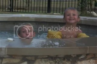 Cayle and Andon in the hot tub
