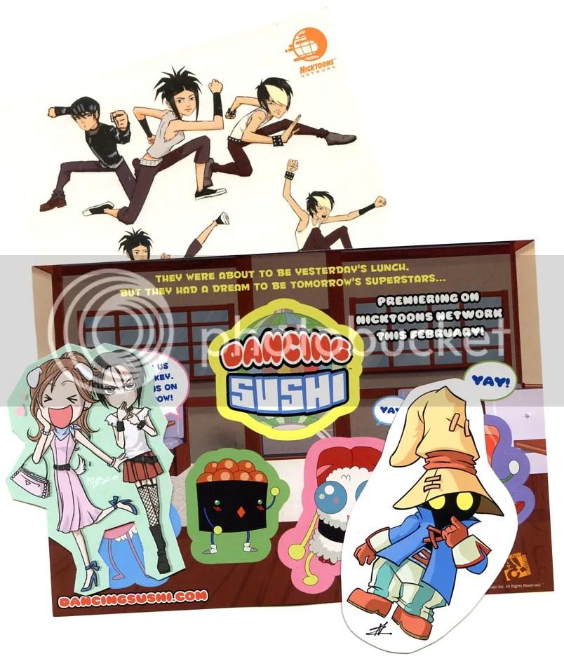 dancing sushi, three delivery, kappa mikey, nickelodeon, nana