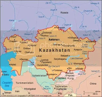 Kazakhstan is bordered by Russia and China