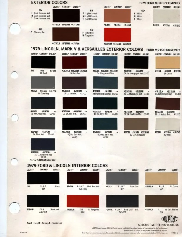 Ford Interior Color Codes
