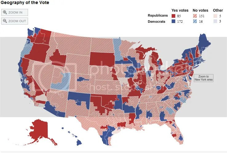 Map Of House Votes Per Fiscal Cliff