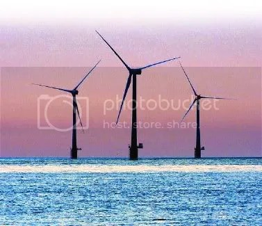 Sunrise on offshore Wind Farm