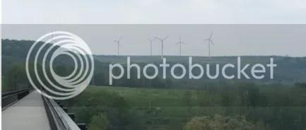 Wind turbines looking down on Meyersdale PA