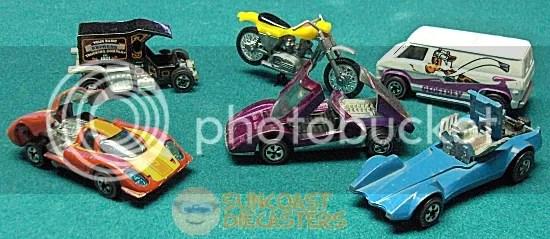 CW from bottom left: Porsche 917; T-Totaller; Street Eater; Super Van; Strip Teaser; Ferrari 512S
