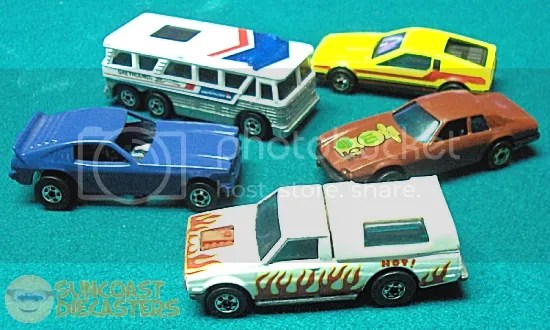 CW from middle left: Show Hoss II; Greyhound Bus; Turismo; Jaguar XJS; Dodge D-50.