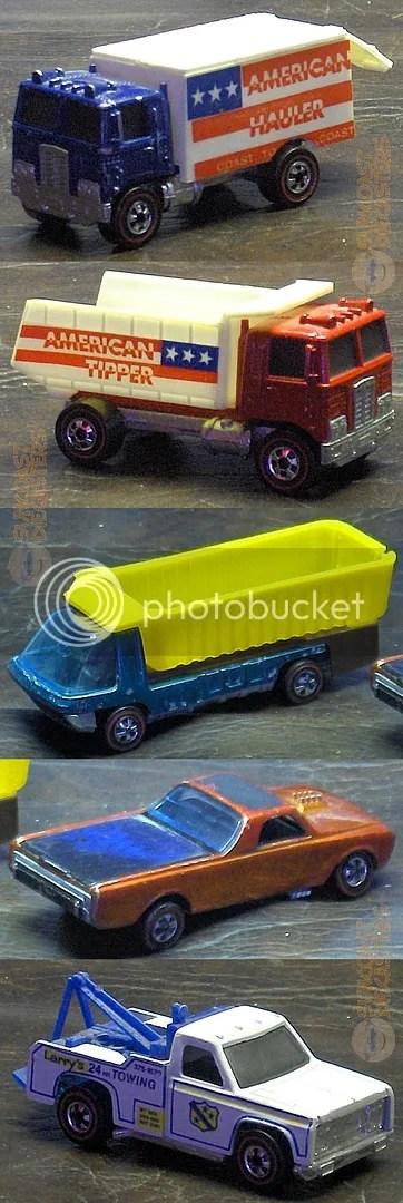 T to B: American Hauler; American Tipper; Heavyweights Dump Truck; Custom Fleetside; Ramblin' Wrecker